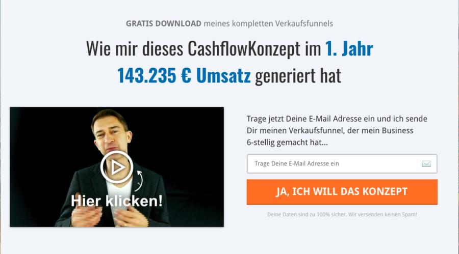 Landingpage Cashflowkonzept