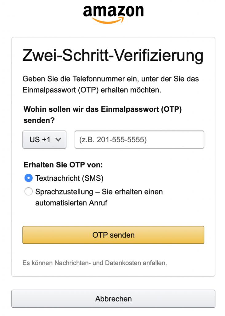 Zwei-Schritte-Verifizierung bei Merch by Amazon