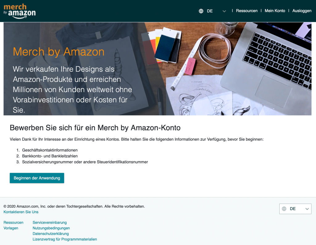 Benötigte Informationen für Merch by Amazon