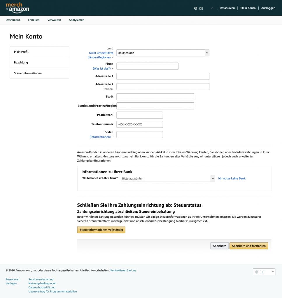 Merch by Amazon Angaben zur Bezahlung