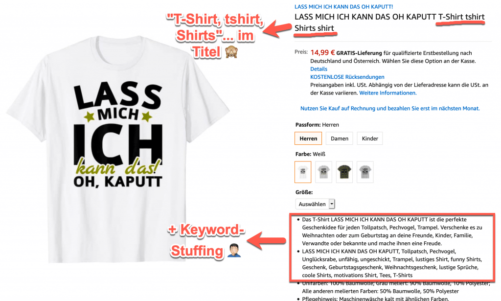 Merch by Amazon MBA Keyword Stuffing